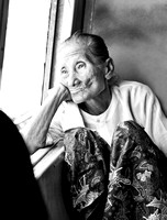 Old lady on the train, Myanmar